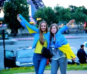 Ukrainian fans still smiling after the match although Ukraine had lost